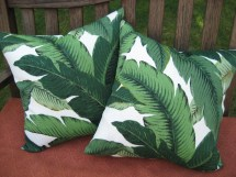 Modern Tropical Green Banana Leaf 18x18 Pillow Cover