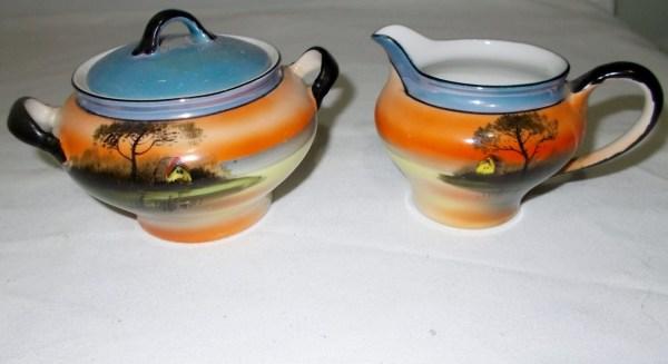 Noritake Cream Sugar Bowl Vintage Japanese Hand Painted
