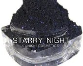 STARRY NIGHT Dark Blue-Black Midnight Glitter Eyeshadow Pigment Glitter Lumikki Cosmetics 10 Gram Jar - lumikkicosmetics
