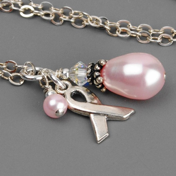 Breast Cancer Necklace Sterling Silver Charm Pink
