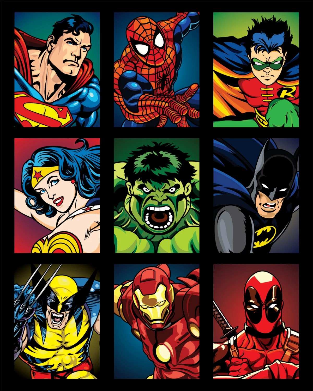Superhero Collage Print 16x20