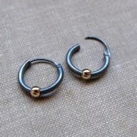 Black Earrings with Gold Bead for Men Mens earrings Unisex