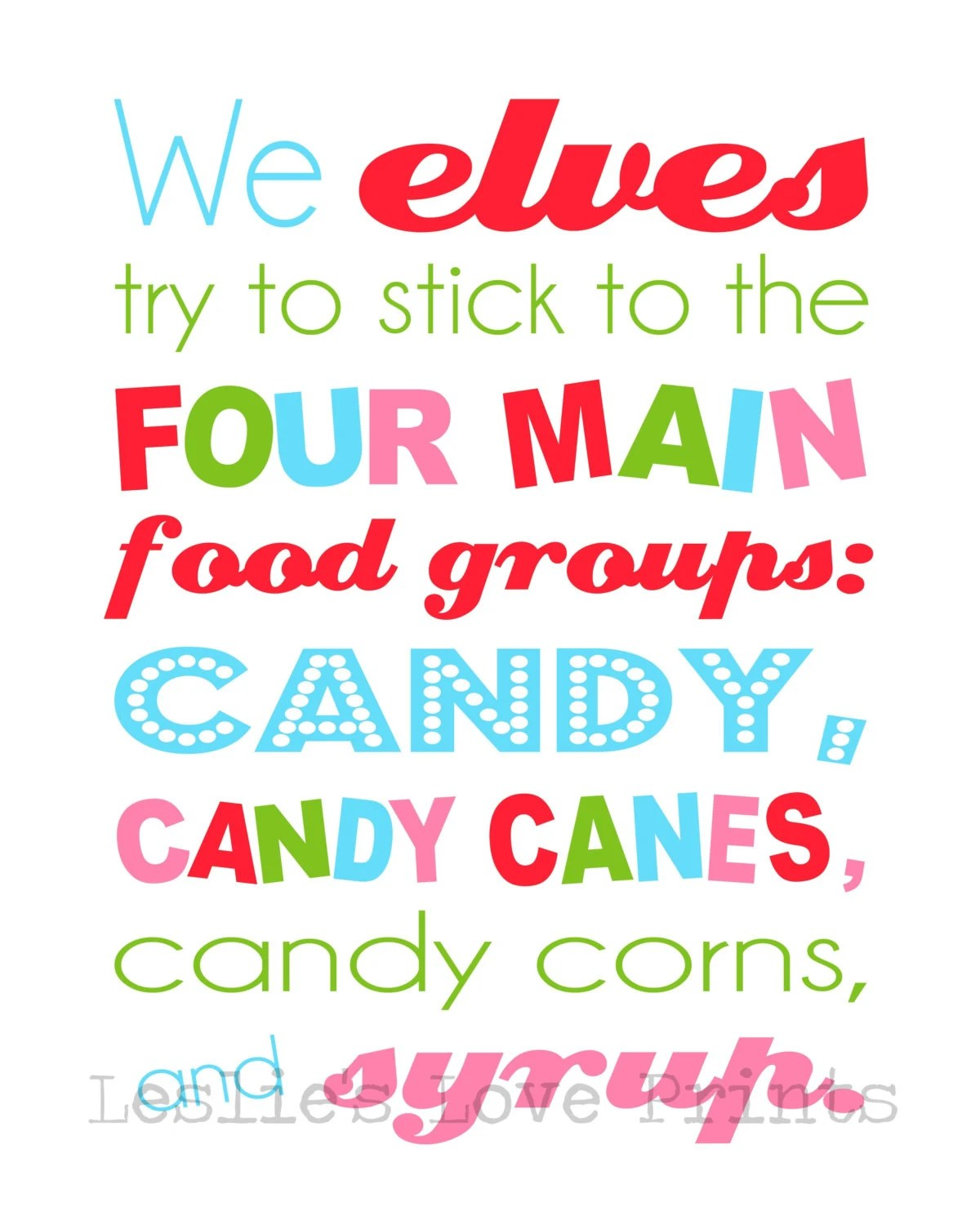 Items Similar To Elf Four Main Food Groups Printable On Etsy