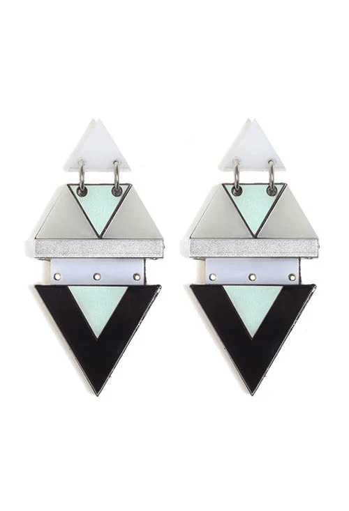 manjha earrings-Statement earrings, geometric earrings in light blue and wood - ShaniJacobiJewellery