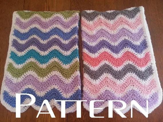 Crochet Pattern Wavy Ripple Baby Blanket Afghan Boy Girl DIY Chevron Beginner from