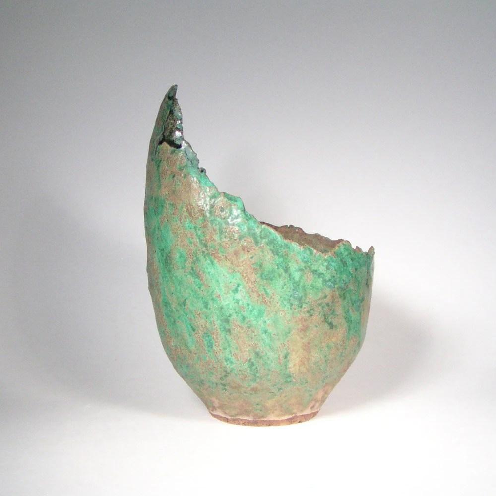Copper Green Bonsai Scoop Pot Cascade Planter with Green