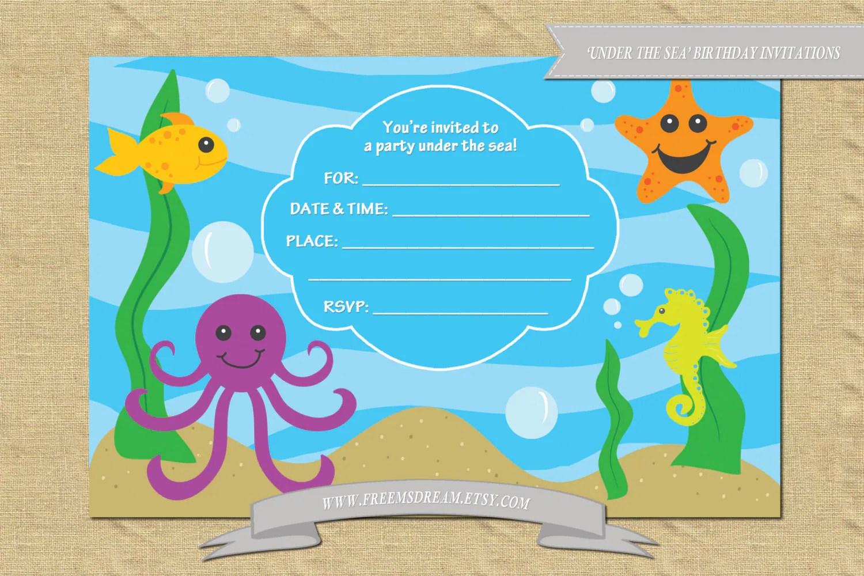 Printable Blank Under The Sea Birthday Party By Freemsdream