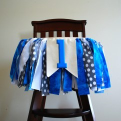 High Chair Decorations 1st Birthday Boy Cotton Dining Covers Uk Little Man Rag Tie Fabric Bunting
