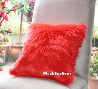 Valentine 17x17 Red Luxury Shaggy Fur Pillows Faux Fake ...