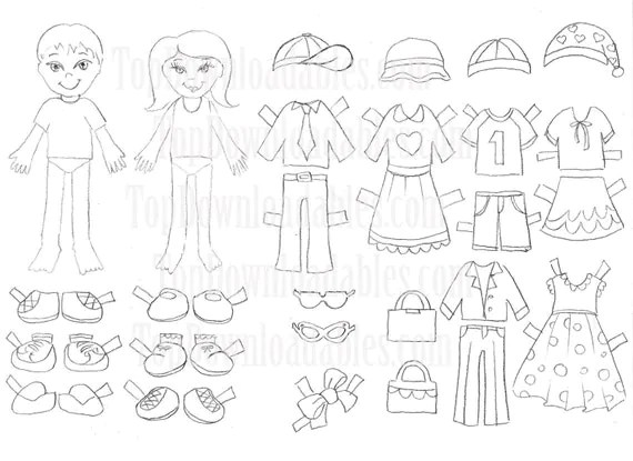 Coloring Paper Doll Kids Sheet Digital by TopDownloadables