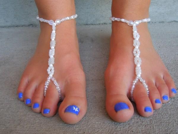 White Beaded Barefoot Sandal Destination Wedding