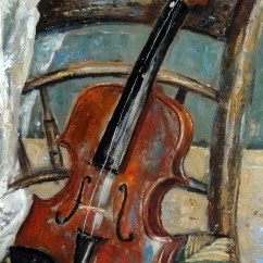 Handmade Rocking Chairs Dining Room Set With White Leather Still Life Oil Painting Original 'violin On Chair'. By Narimcrafts