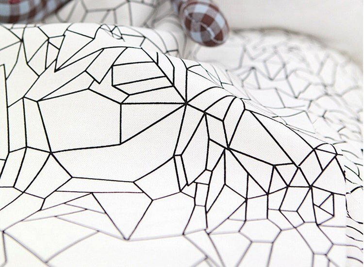 Oxford Cotton Fabric Geometric Black Line on White by