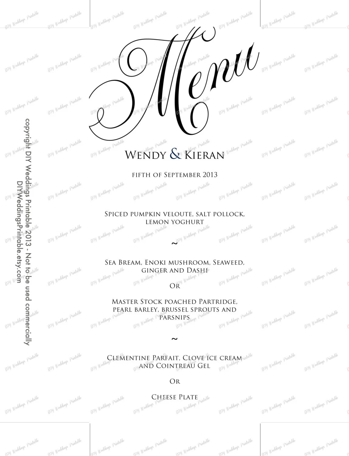 Menu template black and white wedding menu by