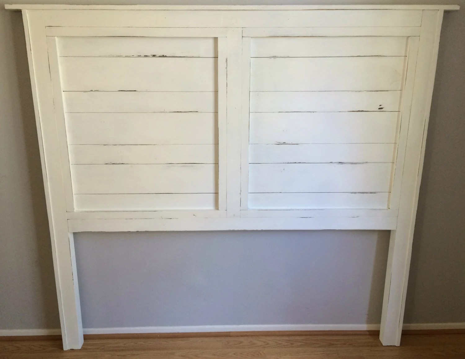 Shabby Chic Distressed White Wood Queen Headboard The