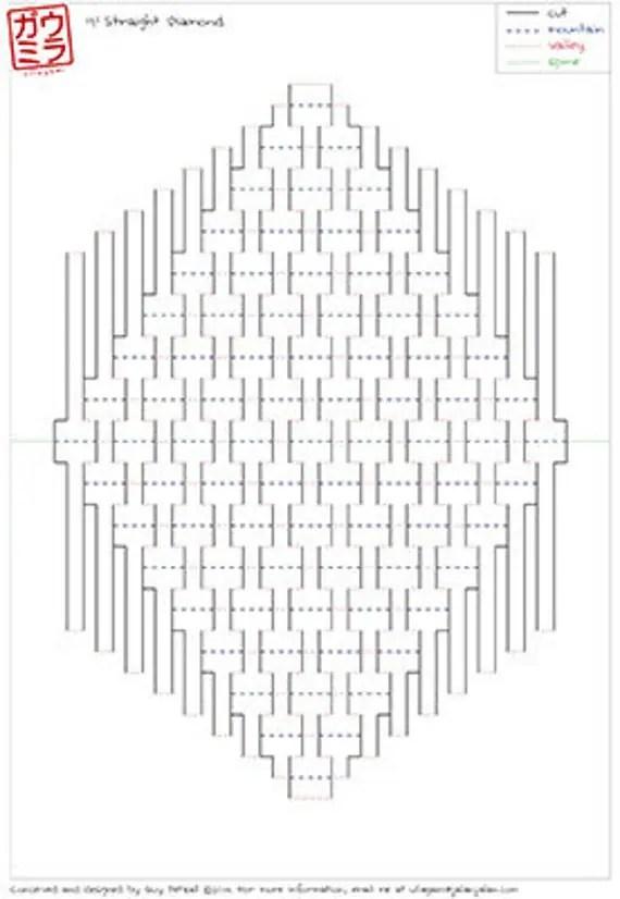DIY Template 9x9 Straight Diamond Kirigami Pop-up by Ullagami