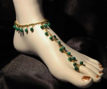 Elegant Barefoot Sandals Of Green Malachite And Gold