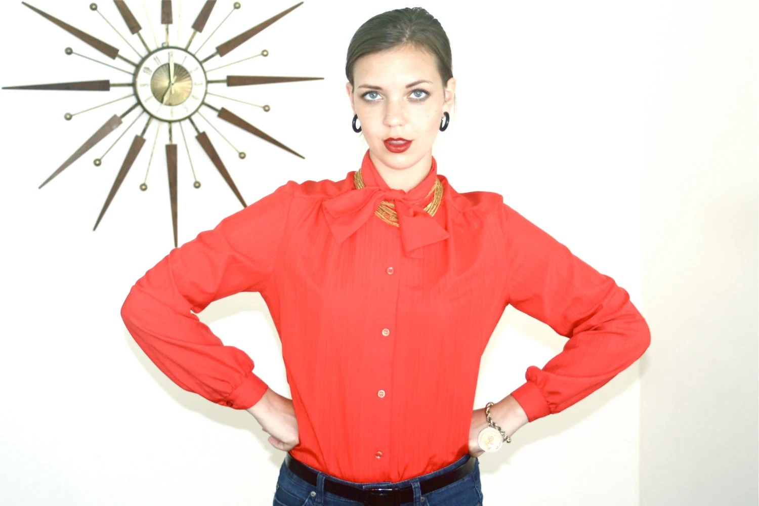 Vintage 80s Pussybow Blouse Bright Red By PosiesForLuluVintage