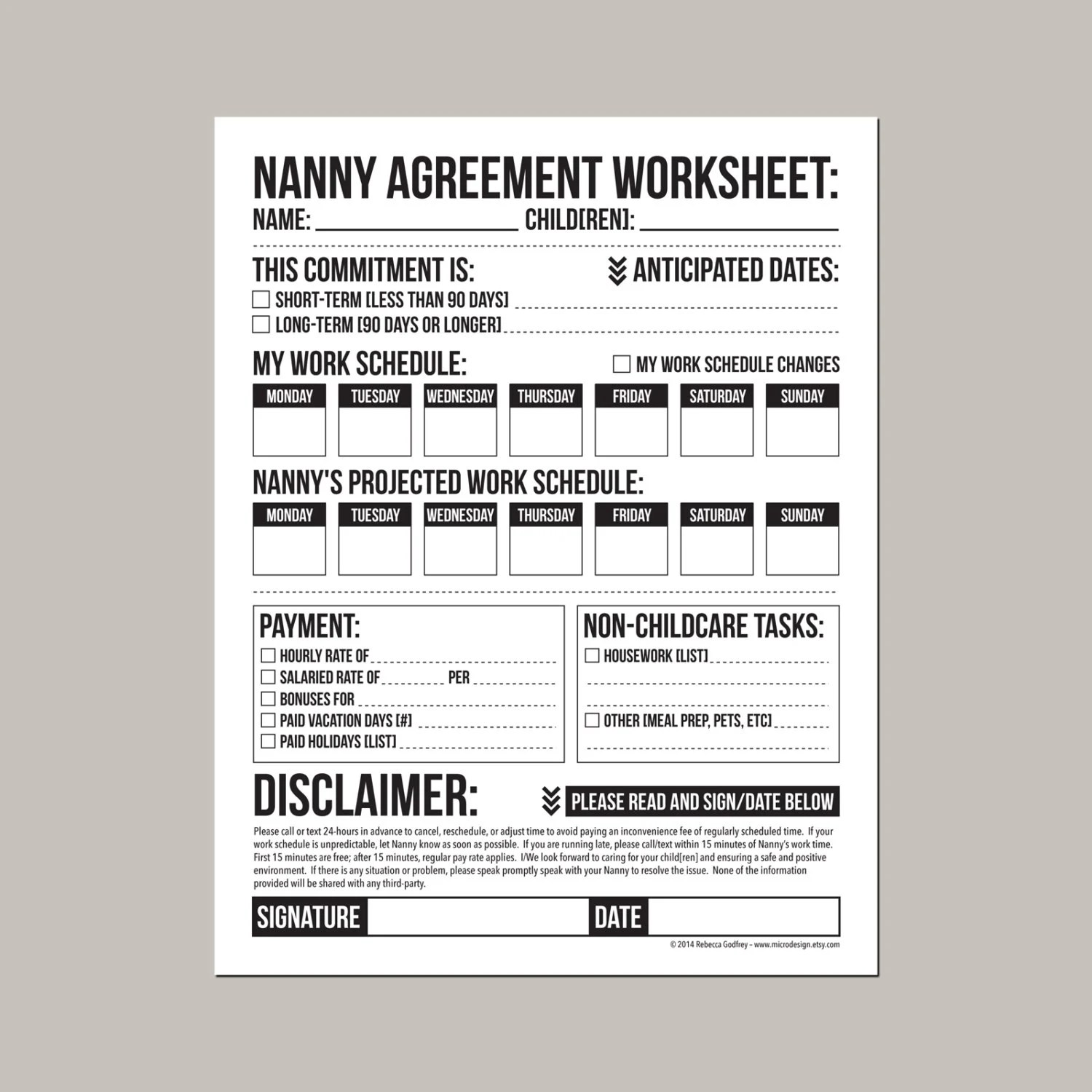 Nanny Agreement Worksheet Printable Sheet