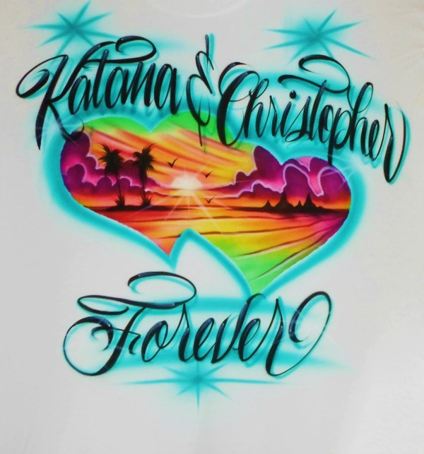Airbrush T Shirt Couples Beach Scene Hearts With Two Names