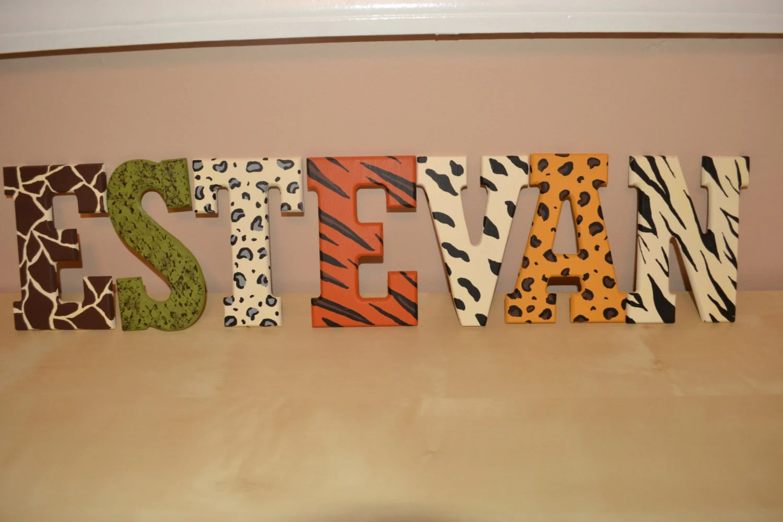 Handpainted animal print letters