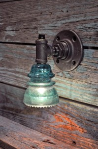 Glass Insulator Wall Sconce Light with Built