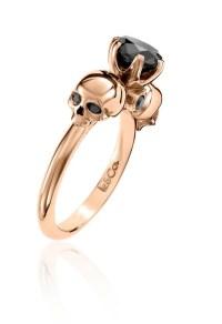 Rose Gold 1ct Black Diamond Skull Ring