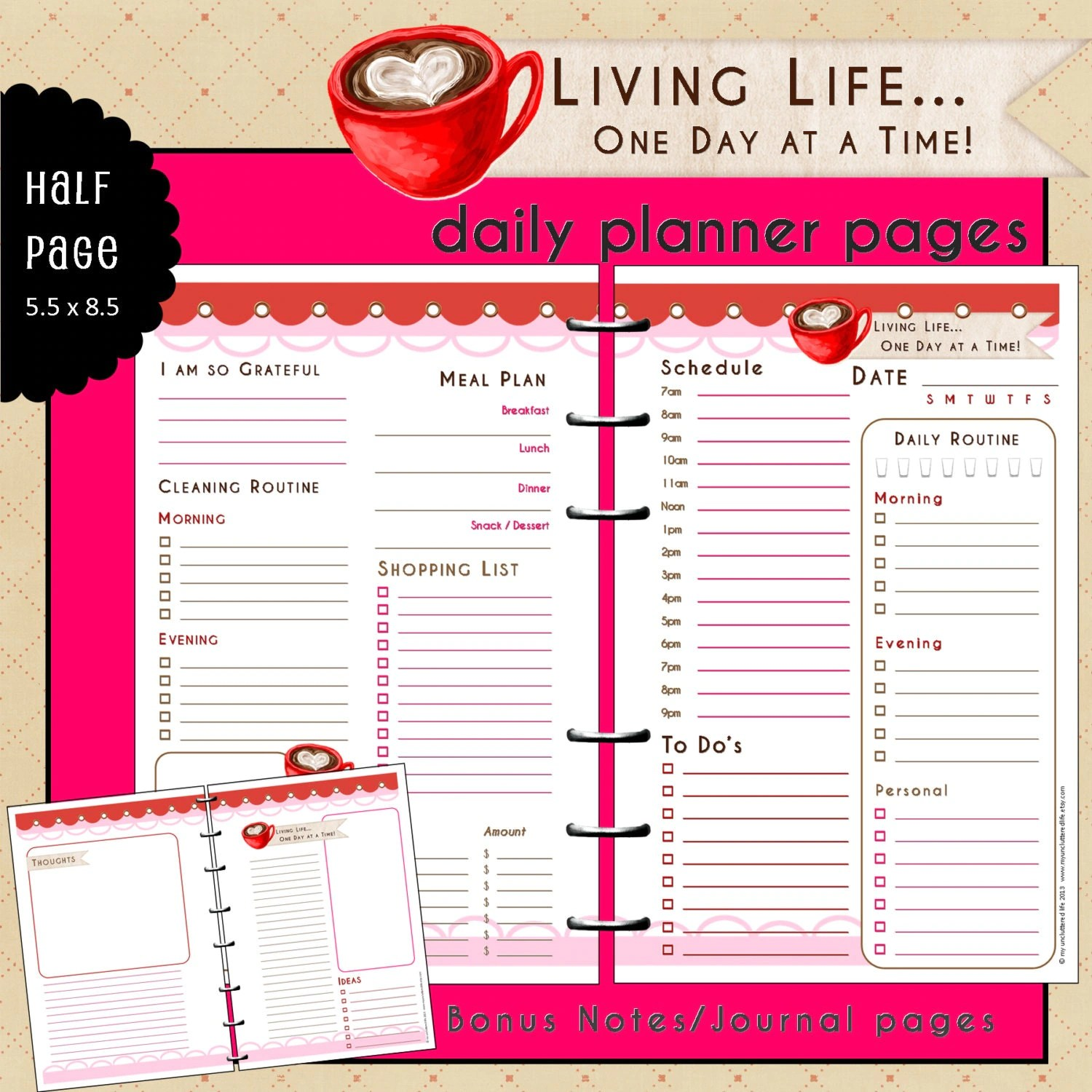 Daily Planner Printable Half Page Undated By Myunclutteredlife
