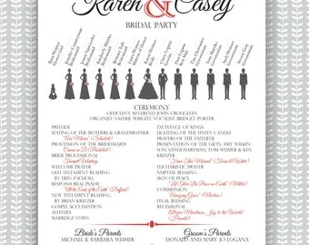 Customized Silhouette Wedding Program Wedding Silhouette