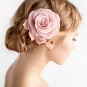 blush pink hair flower bridal rose