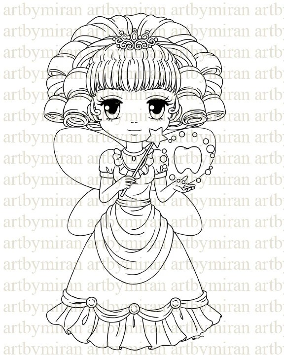 Digital Stamp-Tooth Fairy Digi Stamp Coloring page by