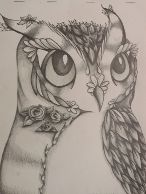 drawings pencil cool sketches flower owl drawing draw sketch owls easy nature flowers animals sunson similar items something animal amazing