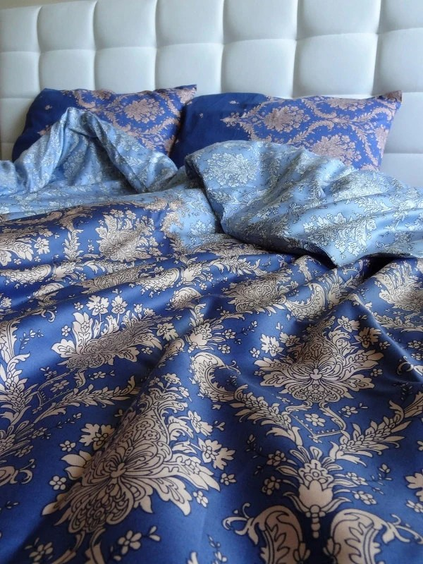 Full Double Queen Duvet Cover Full Set Blue Damask