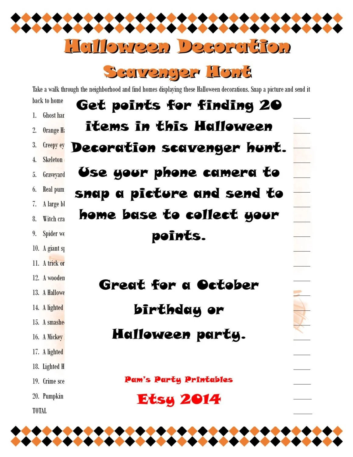 Printable Halloween Taboo Game Cards INSTANT DOWNLOAD for your