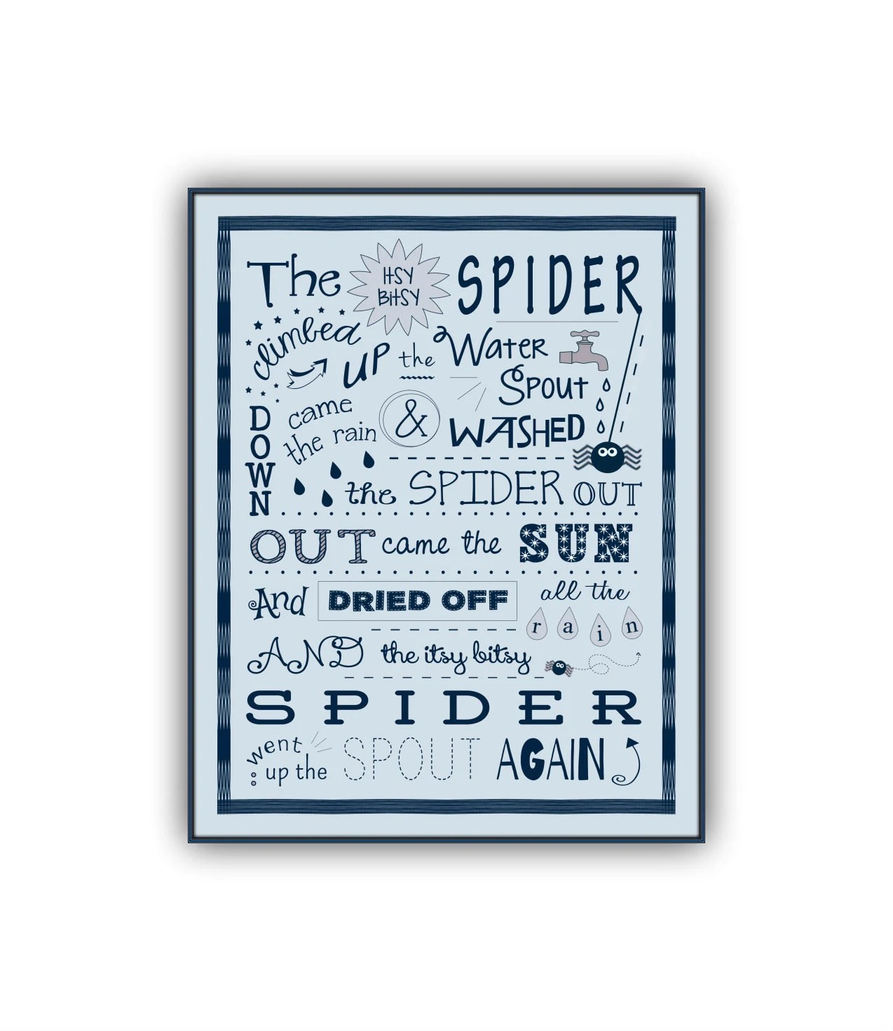 Itsy Bitsy Spider Song Print Nursery Rhyme Baby Shower T