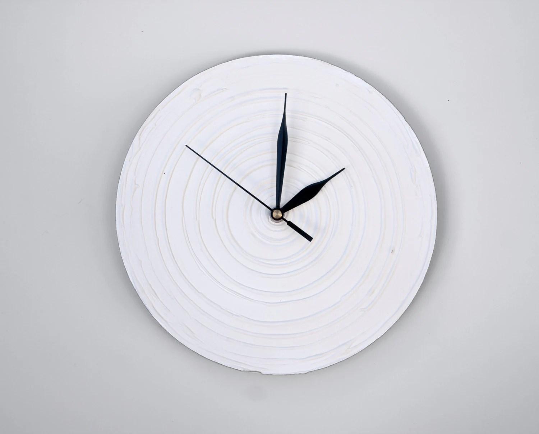 WHITE Clock Modern WALL CLOCK White Wall Clock Wood Clock