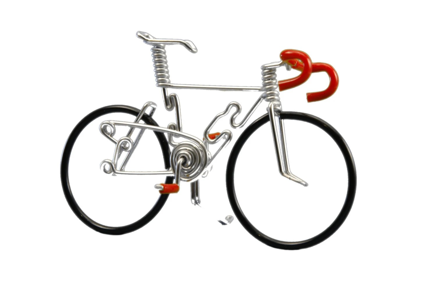 Road Bike-Deluxe Model with Black Wheels Red by OzWireArt