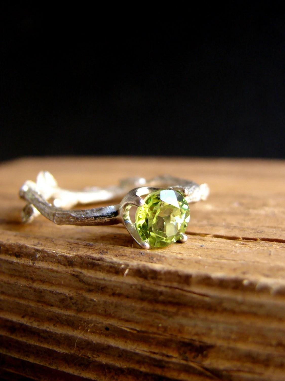 Peridot Gemstone Branch Jewelry Twig Ring Engagement Ring