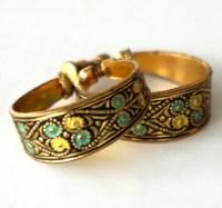 Vintage Damascene Earrings Hoop Spanish Toledo Black Yellow