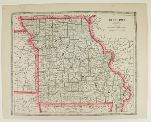 Vintage Map of Missouri Iowa Map 1884 Antique Map History