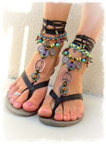 Hippie Boho Peace Sign Barefoot Sandals Black And Copper Gypsy