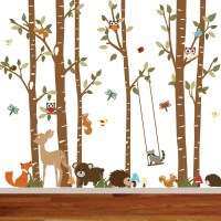 Birch Tree Deer Wall Decal with Forest by wallartdesign on ...