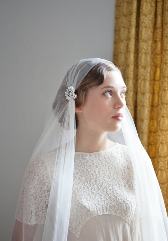 Ivory Wedding Veil Juliet Cap Style Art Deco Veil Ivory Cap