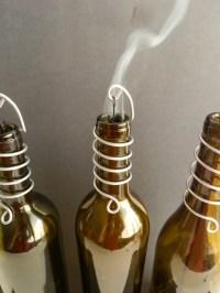 Wine Bottle Stick Incense Burner Blue Clear Gold Olive Green