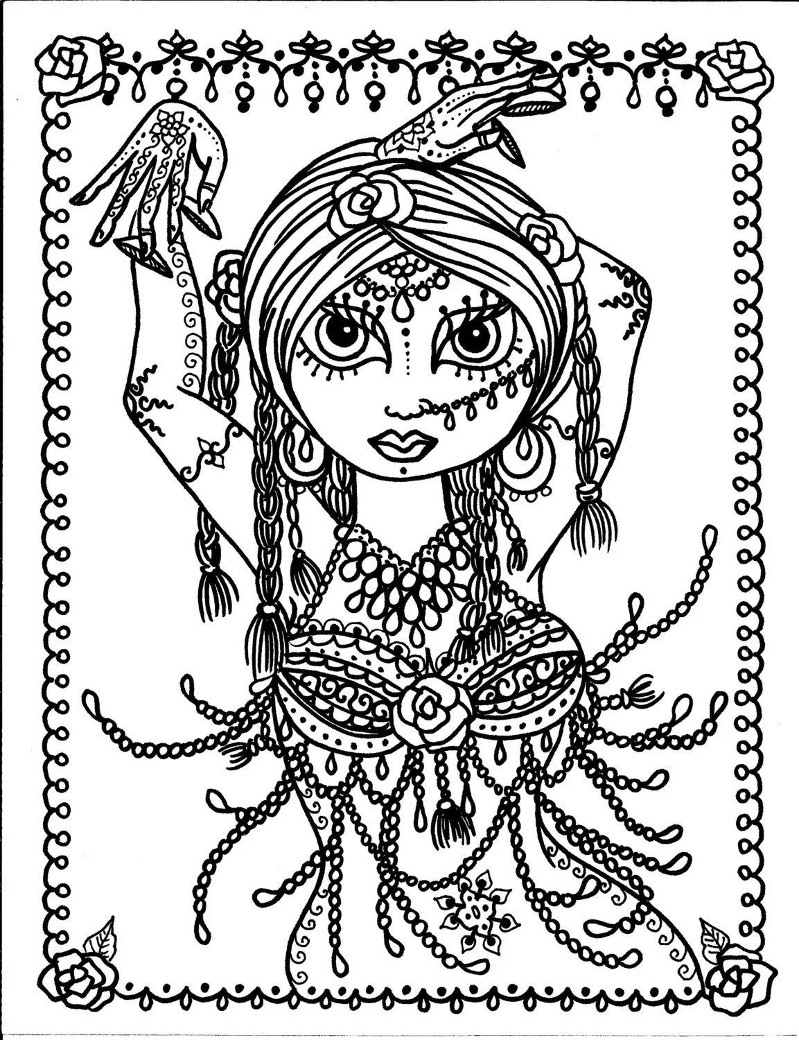 5 pages Belly Dancer coloring pages Digital files by