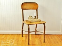 Vintage School Chair Wood and Metal Frame Urban Industrial