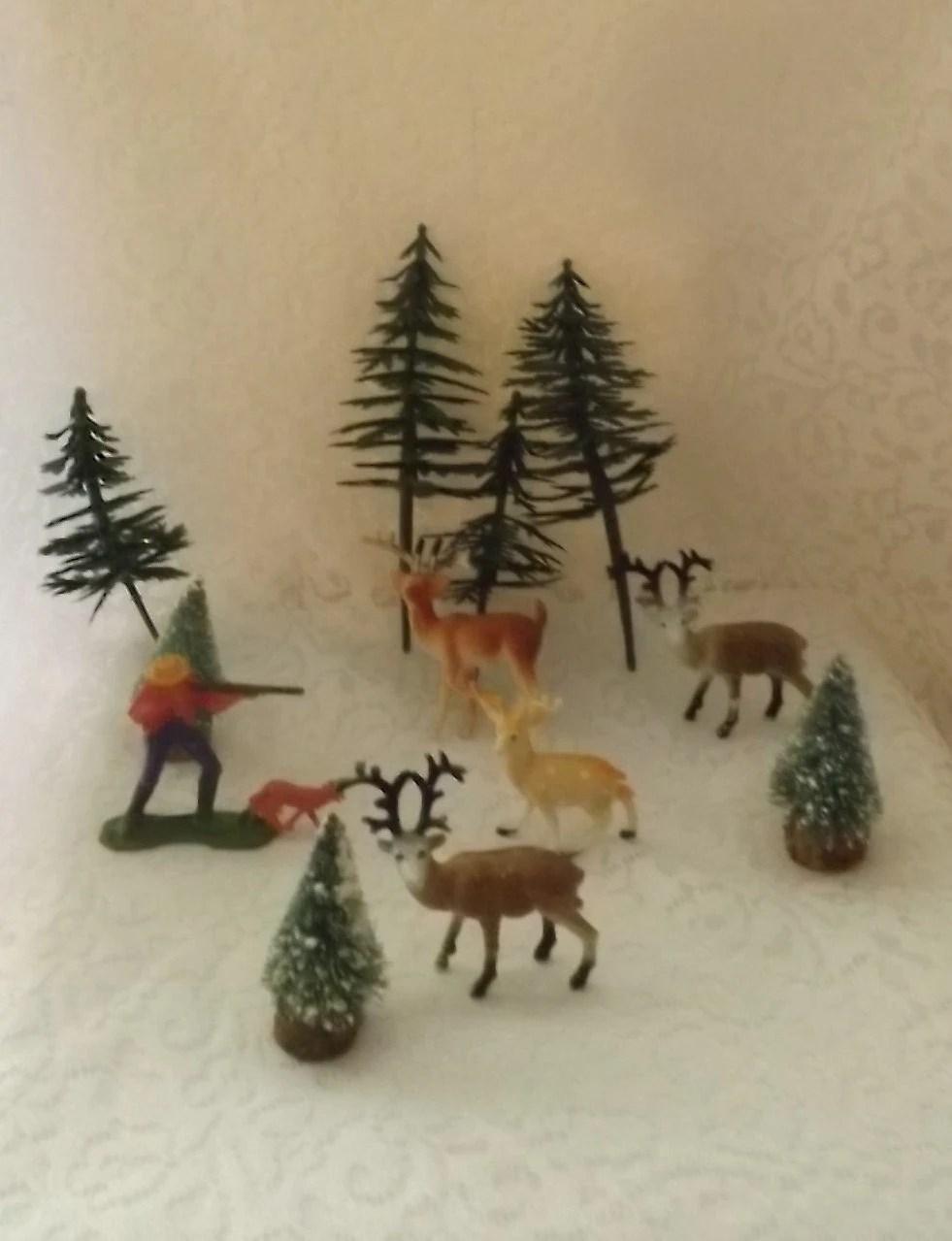 hunting theme forest deer plastic pine trees bottlebrush