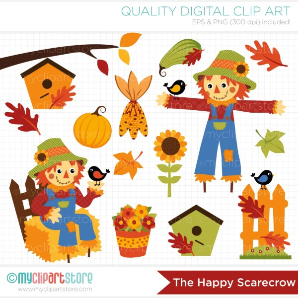 clipart - happy scarecrow fall