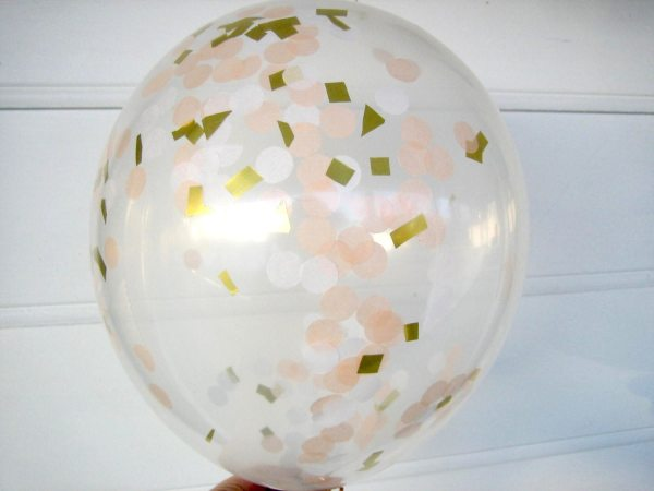 Confetti Balloons Peach White And Gold Filled