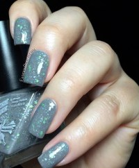 Ugly Sweater Party Nail Polish Gray Wool Funky Green Bling